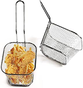 French fries blue mini stainless steel square fried food filter suitable for kitchen restaurant party barbecue 2 pieces