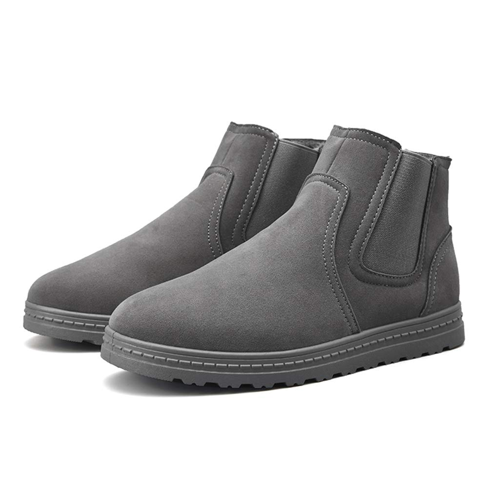 MUMUWU Mens Fashionable Mid-Calf Snow Boots Casual Winter Faux Fleece Inside Home Non-Slip Shoes Winter Boots