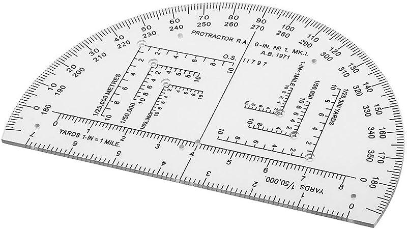 Backbayia Protractor Escala de Tarjeta de plástico Plotter Rodillo Diagrama avión: Amazon.es: Hogar