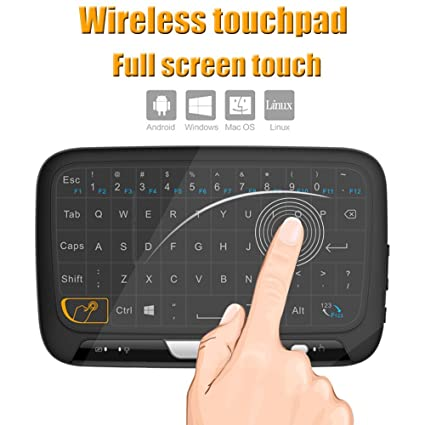 98a3c81b9e7 Tripsky H18 2.4GHz Wireless Whole Panel Touchpad and Mini Keyboard, Handheld  Remote with Touchpad