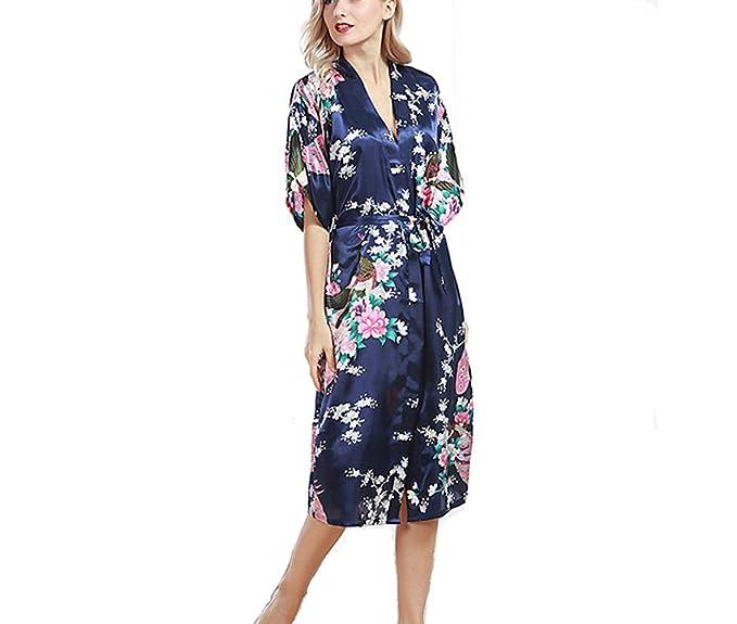 TieNew Mujer Albornoz Vestido Kimono Satén, Estilo Largo Camisón para Mujer Robe Albornoz Dama de