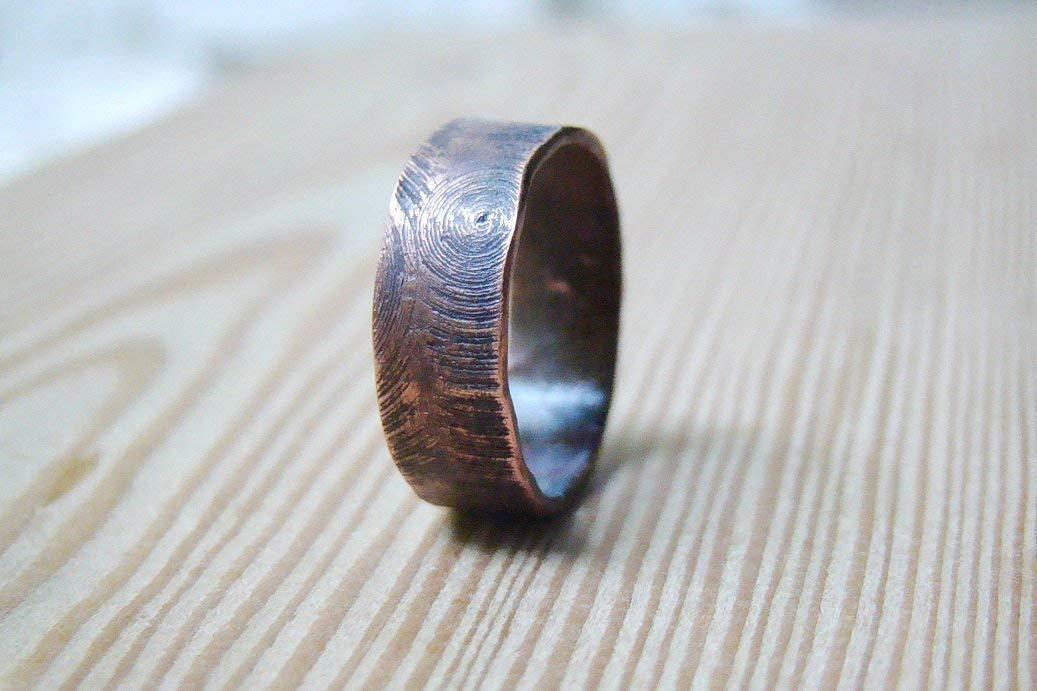 Wood Textured Mens Wedding Ring Band Oxidized Custom Jewelry