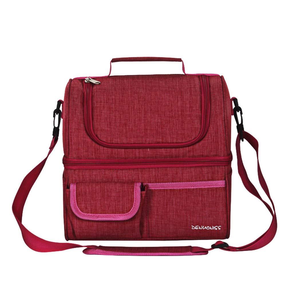 Blu scuro ufficio scuola JIJI886 Sacchetto pranzo doppio sacchetto pranzo pranzo impermeabile EVA adatto per picnic borsa da pranzo tracolla-DENUONISS viaggi