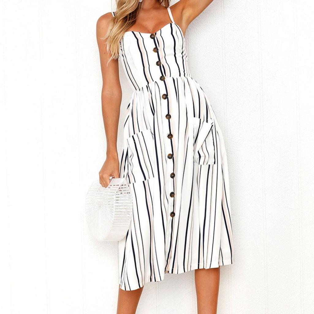 Veepola Women Dress Girl Summer Print Spaghetti Strap Swing Dress with Pockets