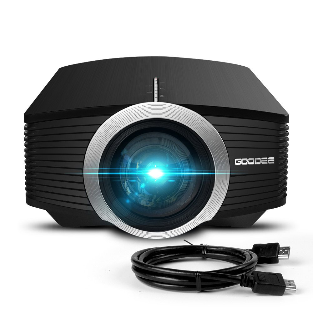 Video Projector, GooDee Mini Projector 2019 (Upgraded Version) 2800 Lumens LED Portable Projector with HDMI, Movie Projector with 130'' Compatible with Fire TV Stick, VGA, USB for Home Theater Movie by GooDee