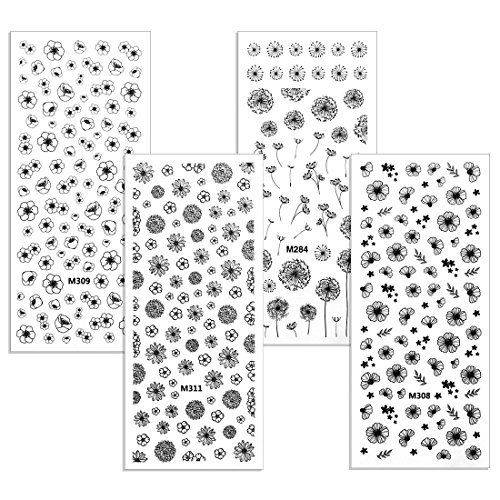 BMC By Bundle Monster 4 Sheet Rub On Nail Art Decal Sticker - Spring Florals