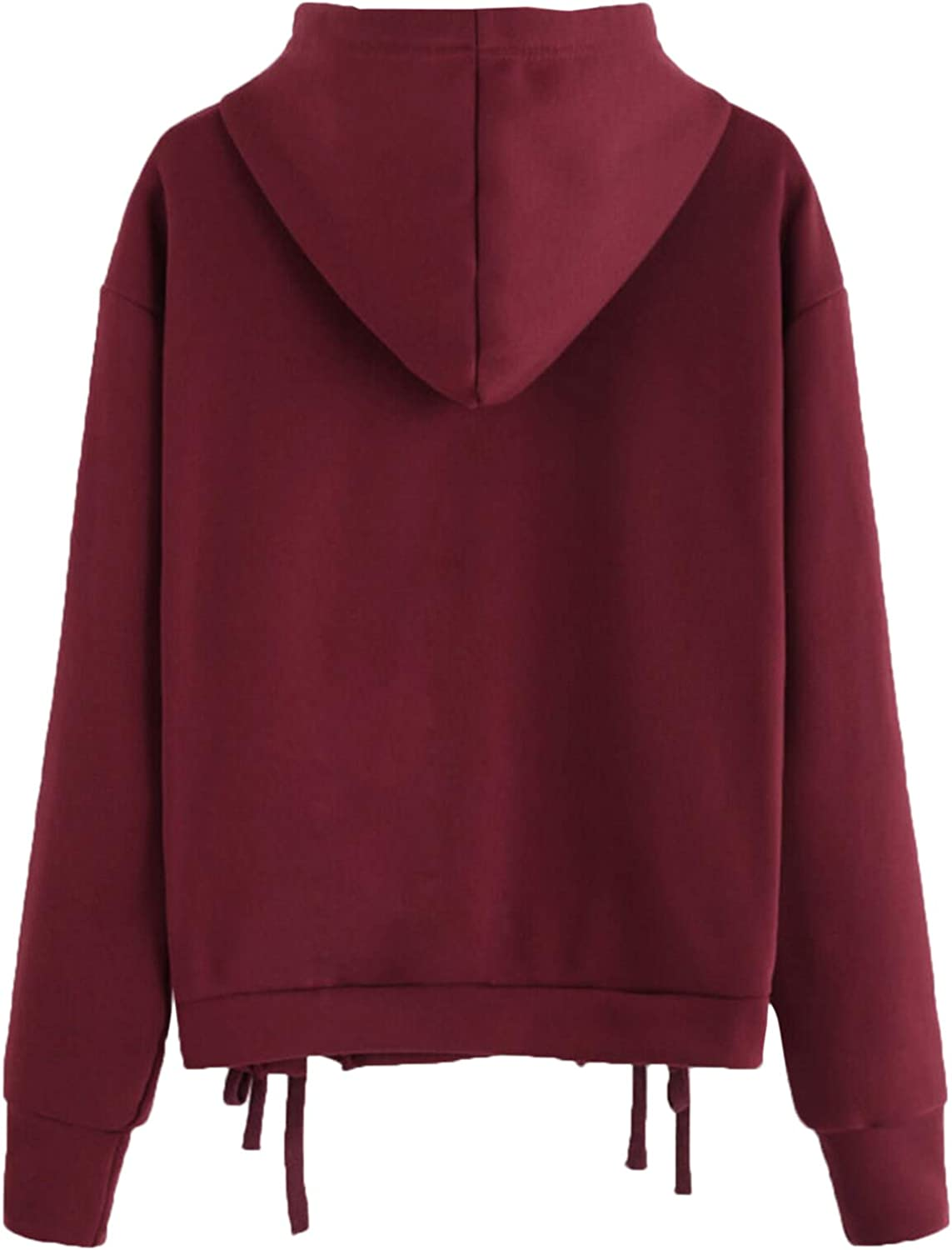 Milumia Womens Lace Up Drawstring Pullover Sport Casual Plus Hoodie Sweatshirt