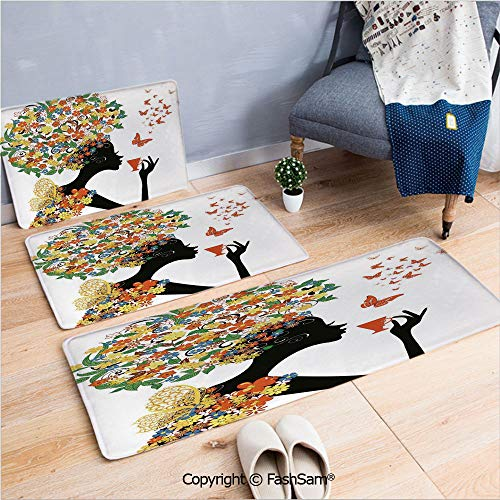 3 Piece Flannel Bath Carpet Non Slip Woman Silhouette with Hot Tea Cup Butterflies Wings Daisies Poppy Hibiscus Hairstyle Front Door Mats Rugs for Home(W15.7xL23.6 by W19.6xL31.5 by W15.7xL39.4) ()