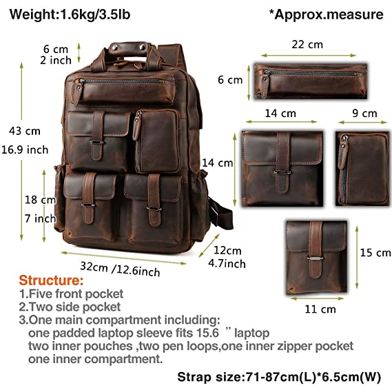7ab89b463ca4 Amazon.com  Men s Vintage Classic Leather Travel Weekender Casual Outdoor  School Multi-pockets Case 15.6 Inch Laptop Luggage Suitcase Daypack  Overnight ...