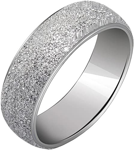 PAURO Womens Stainless Steel 4mm Stackable Engagement Wedding Band Ring Sand Blast Finish
