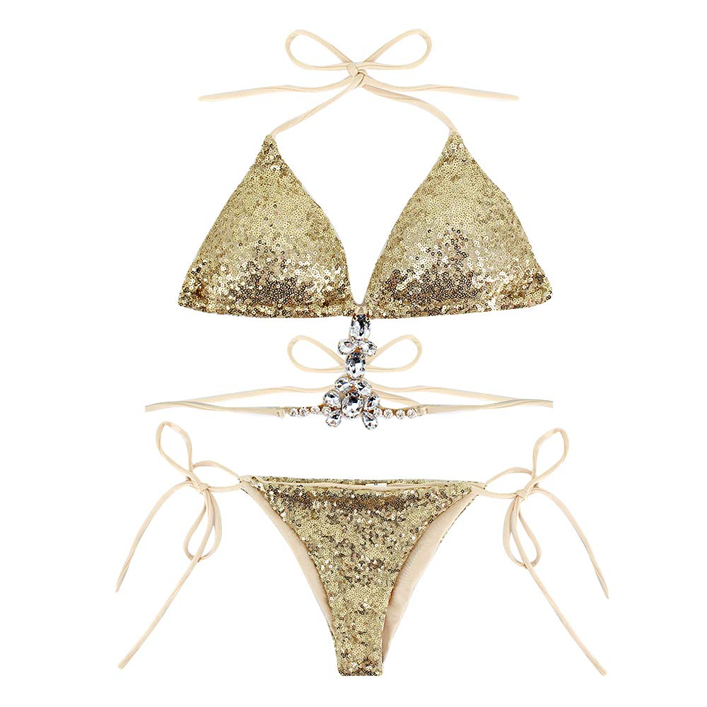 Xgold Aisa Women Triangle Bikini Set Sequin Sexy 2 Piece String golden Ring Glitter Beachwear
