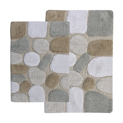 Chesapeake 2-Piece Pebbles 21-Inch by 34-Inch and 24-Inch by 40-Inch Bath Rug Set, Spa (Bathroom Towels And Rugs)