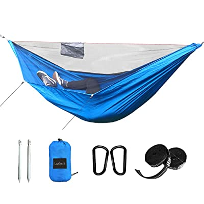 Lanbent Camping Hammock with net, Support Rope Design, Two-Way Zipper, Easy to Install, Ultra-Light Nylon Fabric, Suitable for Camping, Courtyard Gathering, Campus Lunch Break, Blue : Industrial & Scientific
