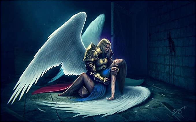 Twenty Three 24x36 Inch Canvas Poster Angel Men Wings Armor Fantasy Girl Mood Sad Death Love Posters Prints Amazon Com