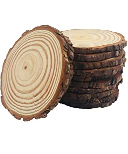 10 Pcs 3.5-4.0inch Natural Wood Slices Round Wood Discs Tree Bark Wooden Circles for DIY Crafting Coasters Arts Crafts Home Decorations Vintage Wedding Ornaments …