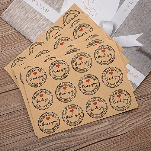 120PCS Packaging Kraft Label Sticker Hand Made Round Sticker with 'Thank You' and Heart For Baking Gift Bag Stickers Decorations