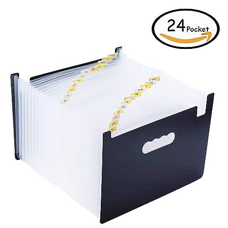 Carpeta Oficina A4 Acordeon Organizador de Archivos Soporta Hasta 3000 Hojas Impermeables con 24 Bolsillos y