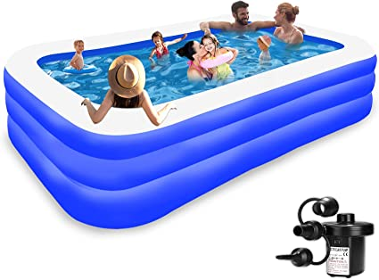 Inflatable Pool For Kids And Adults Kiddie Pool Inflatable Swimming Pool For Kids Pools For Backyard Blow Up Pool 120 X 72 X 22 Air Pump Kids Pool Family Pool