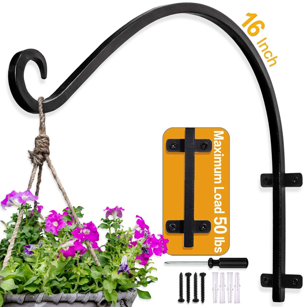 Hand Forged Hanging Plant Bracket (16 inch/Black) More Stable More Durable and Heavy Duty Rust-Resistant Outdoor Plant Hooks