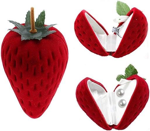 SODIAL Caja de joyería pequeña con forma de fresa para pendientes, cajas de regalo para frutas, color rojo: Amazon.es: Hogar