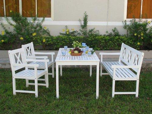 Ehrfürchtige Gartenmöbel Set Weiß