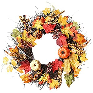 Auwer Halloween Wreath Garlands, 60cm Fall Maple Leaf Thanksgiving Wreath Autumn Front Door Wreath Wall Hanging Decorations 50