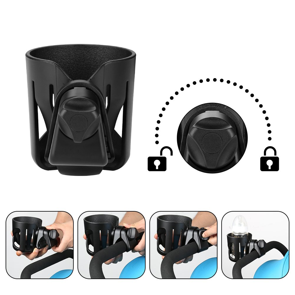 Universal Cup Holder by Accmor, Stroller Cup Holder, Large Caliber Designed Cup Holder, 360 Degrees Universal Rotation Cup Drink Holder, Black, 2 Pack by Accmor (Image #4)