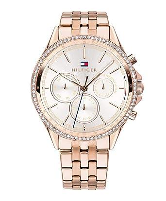 am besten bewertet neuesten verschiedenes Design um 50 Prozent reduziert Tommy Hilfiger Damen Multi Zifferblatt Quarz Uhr mit Roségold Armband  1781978
