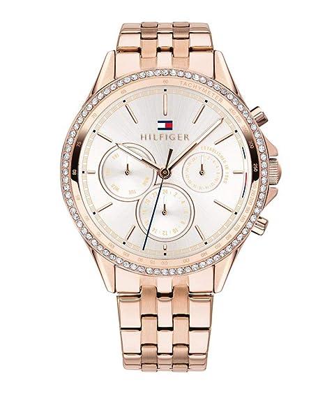 Tommy Hilfiger Reloj Multiesfera para Mujer de Cuarzo con Correa en Oro Rosa 1781978: Amazon.es: Relojes