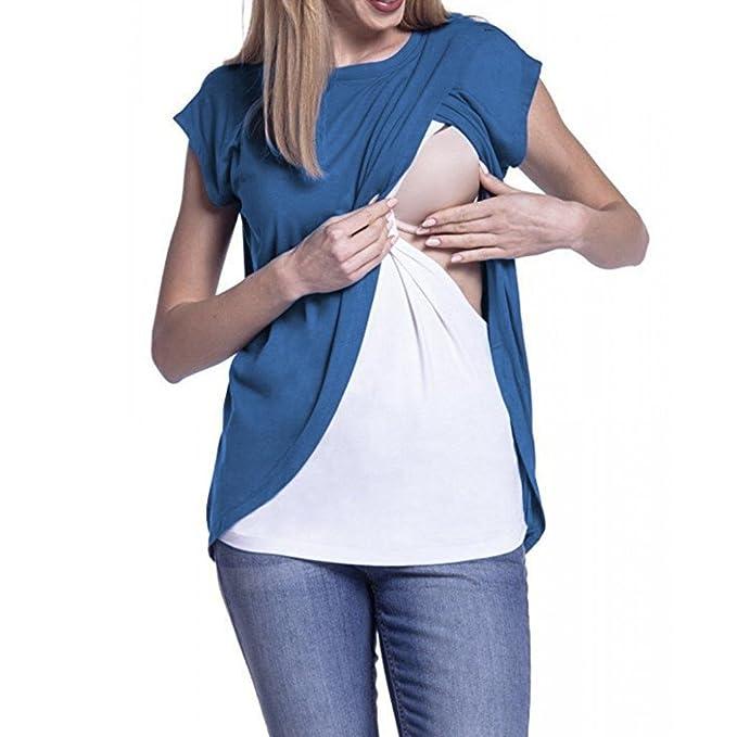 QinMM Camiseta de Mujer Maternidad de Doble Capa, premamá Lactancia Blusa de Manga Corta (