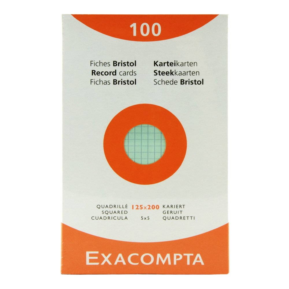 Exacompta Index Cards 5X8 Inch, 100 Pack, White, EXACLAIR INC.