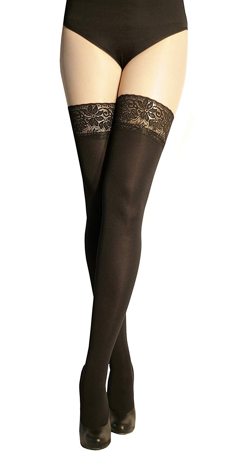 Ladies Fashion Luxury Hosiery Microfibre Opaque Matt Hold Up Stockings Lace Top MARILYN