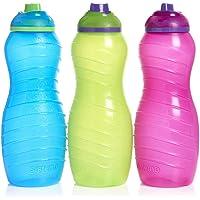 3 botellas de plástico con sistema Twist n Sip, 700 ml, colores azul, rosa y verde