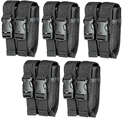 Ultimate Arms Gear Pack of 5 Tactical Stealth Black Springfield Armory XD XDS XDM Double Dual 9mm .40 S&W .45 ACP Hi-Cap Pistol Handgun Caliber Magazine Mag Nylon Cell Carrier Pouch with Secure Buckle Adjustable Velcro Straps