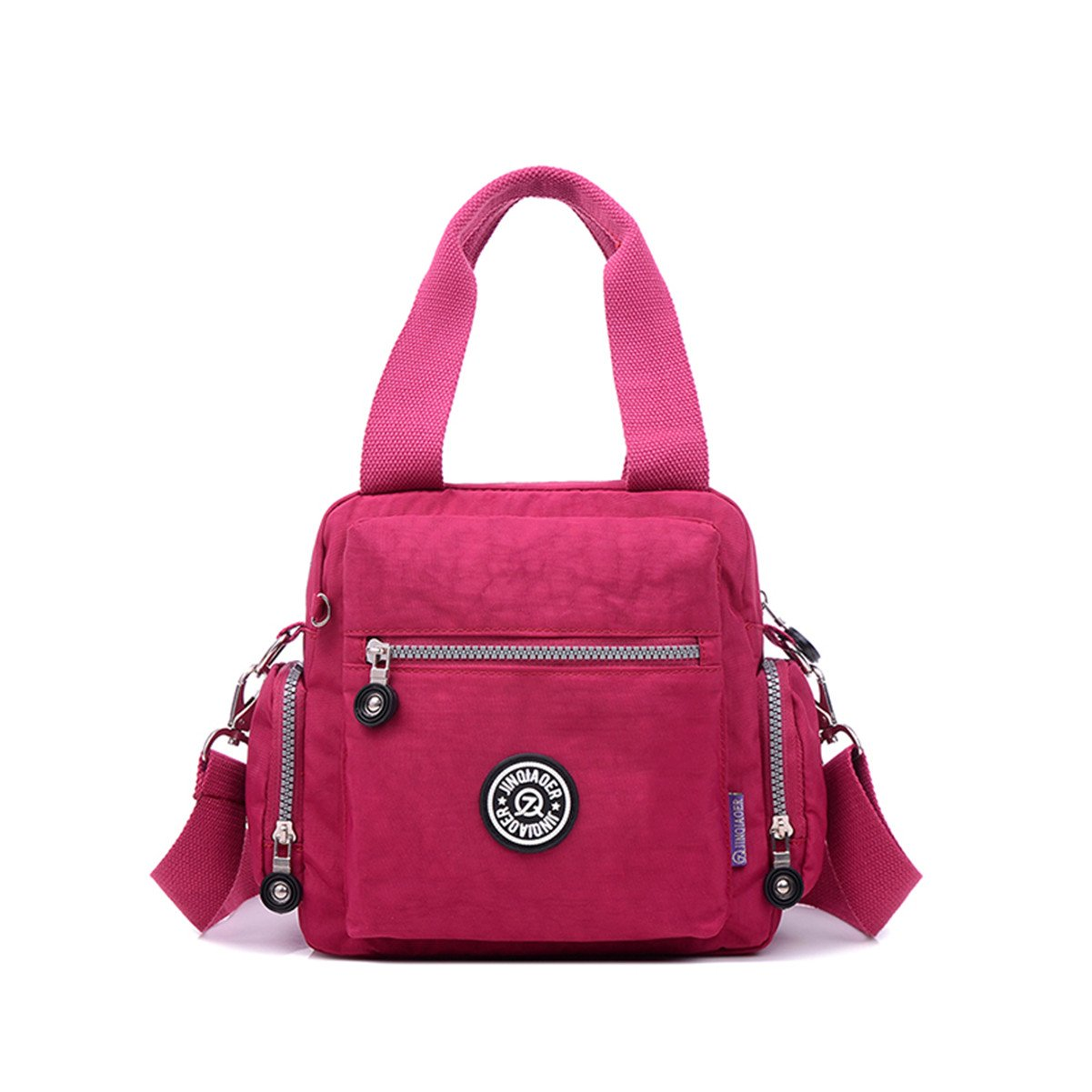 Tiny Chou Waterproof Nylon Top-handle Handbag Crossbody Messenger Bag with Detachable Shoulder Strap-Red