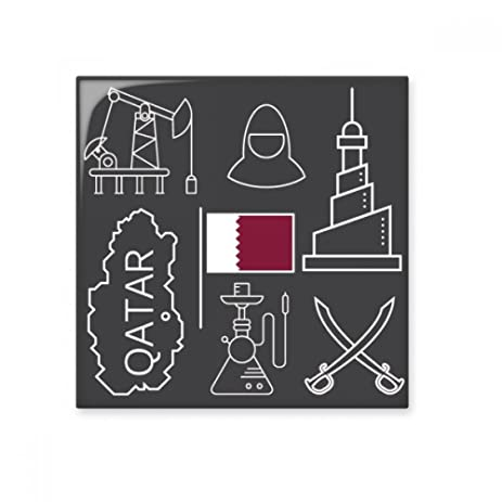 Hand-painted Simple-line Drawing City Qatar Flag Ceramic Bisque ...