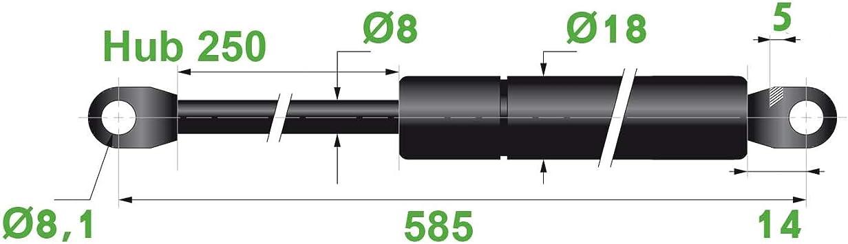 Made in EU Gasdruckfeder Lift Haubenheber 200N Hub=140 Länge 365//380 Ø 8//18 mm
