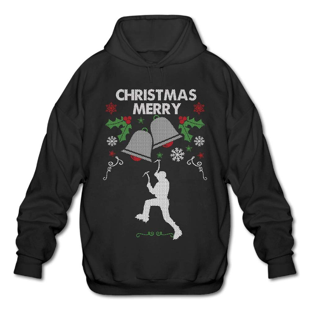Merry Christmas Ice Climber Mens Funny Hooded Sweatshirt Hoodie