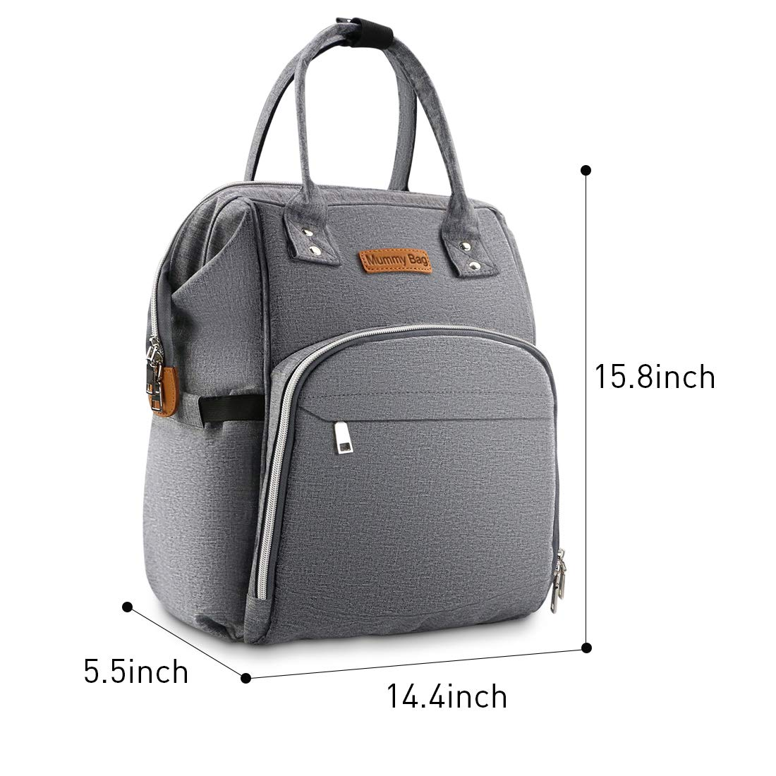 Wide Open Design Large Diaper Bags for Bottle Storage Stroller Straps for Boys or Girls Mom Dad Baby Nappy Changing Bag Backpack with Changing Mat