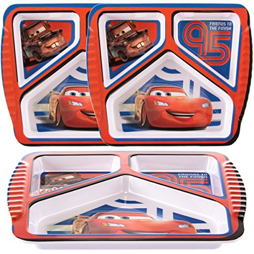 Zak (3 Pack) Disney Pixar Cars Character Plastic 3-Section Divided Kids Party Plates