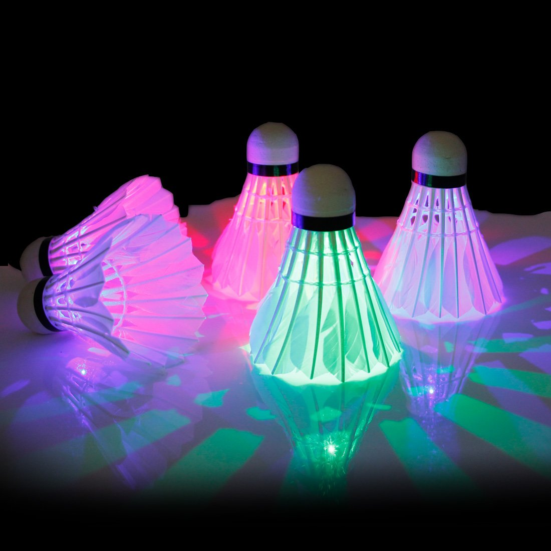 ESport 4 Pack Goose Feather Tournament Shuttle LED Badminton Shuttlecock Glow in The Dark Lighting Birdies for Enjoyable Night Time Badminton Outdoor & Indoor Sports Activities