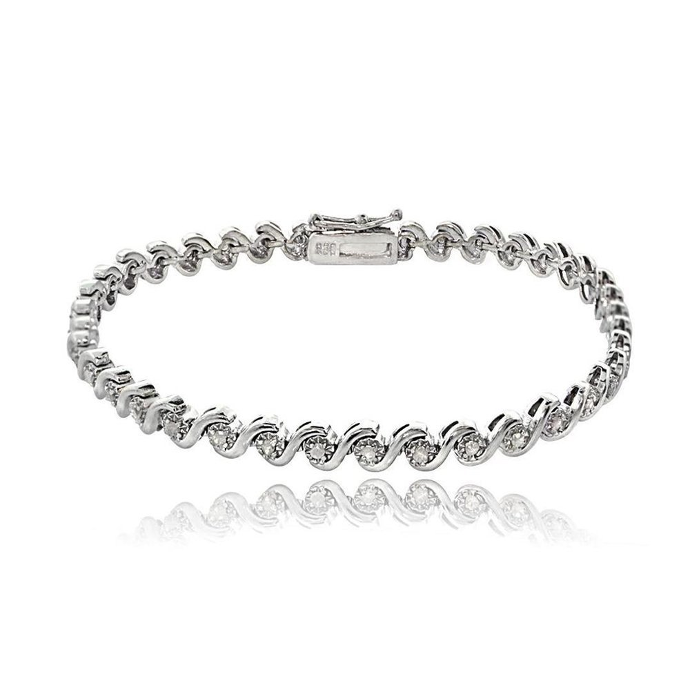 Sterling Silver Simulated Diamond Miracle Set S Design Tennis Bracelet
