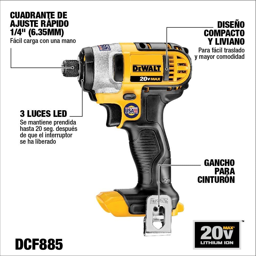 DEWALT 20V MAX Impact Driver Kit, 1/4-Inch (DCF885C1): Home Improvement