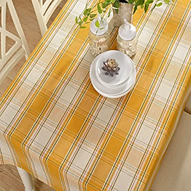 Eforcurtain Plaid Table Cover Rectangle Polyester Cotton Blend Tablecloth, Orange Yellow, Long 52x84-inch