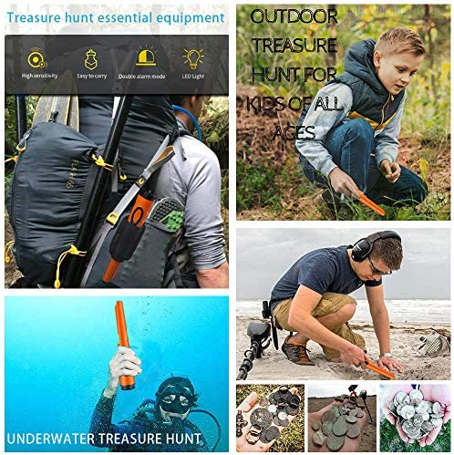 Pinpoint Metal Detector Pinpointer - Fully Waterproof to 8-20 ft Orange with Belt Holster for Adults and Kids