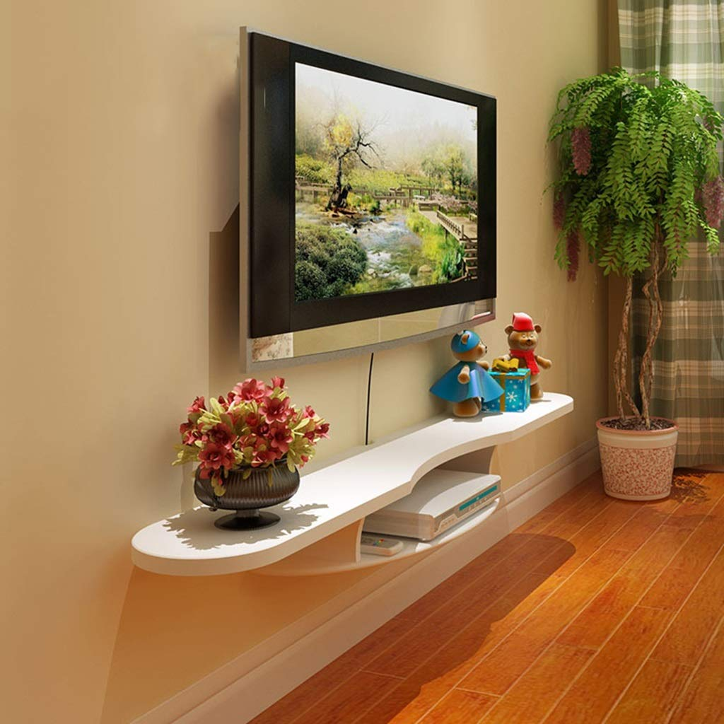 木製 ルーター 収納ボックス テレビ ウォールキャビネット セットトップボックス 収納ラック 記憶装置 主催者 棚 にとって DVD ケーブルボックス (色 : 白)  白 B07MB9QZRP