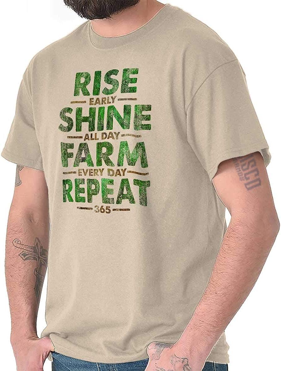 Playera para día a día de la Noche Rise Shine Farm Repeat Farm - Beige - Small: Amazon.es: Ropa y accesorios