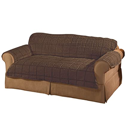 OakRidge Loveseat Cover Bradley Sherpa Protector, Brown