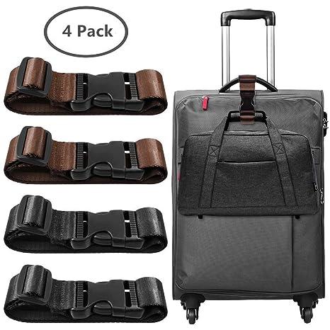 Linlang 4 Pack Correa de Equipaje, Adjustable para Conectar Sus Bolsa y Maleta Juntos -