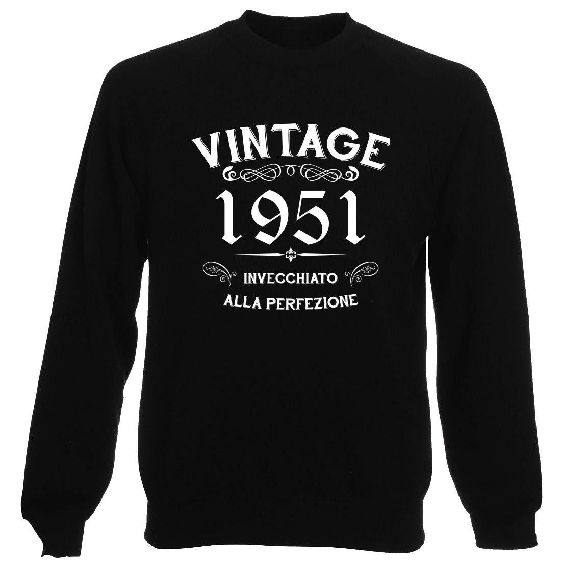 T-Shirtshock Felpa Girocollo Uomo Nera T0895 1951 Invecchiato alla Perfezione PERSONALIZZA con Tuo Anno Vintage